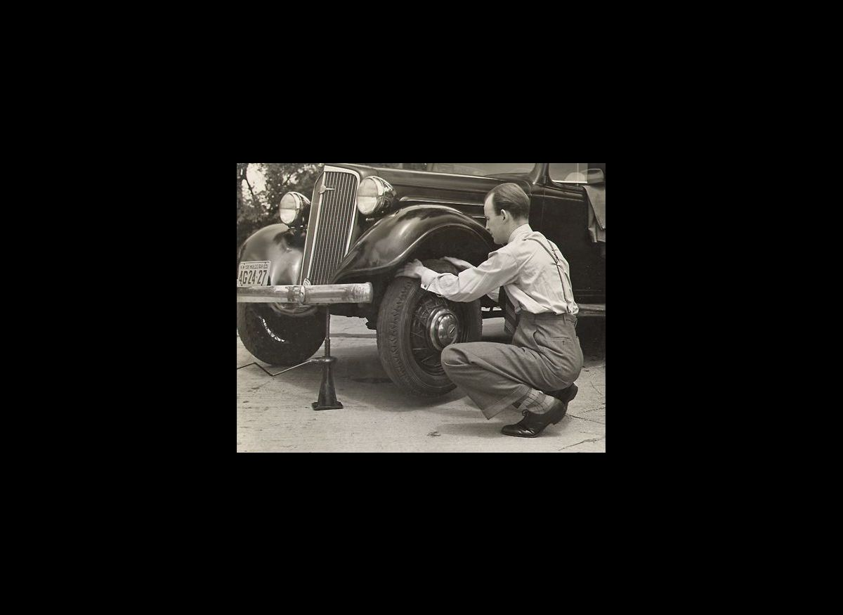 Checking the tires, 1940