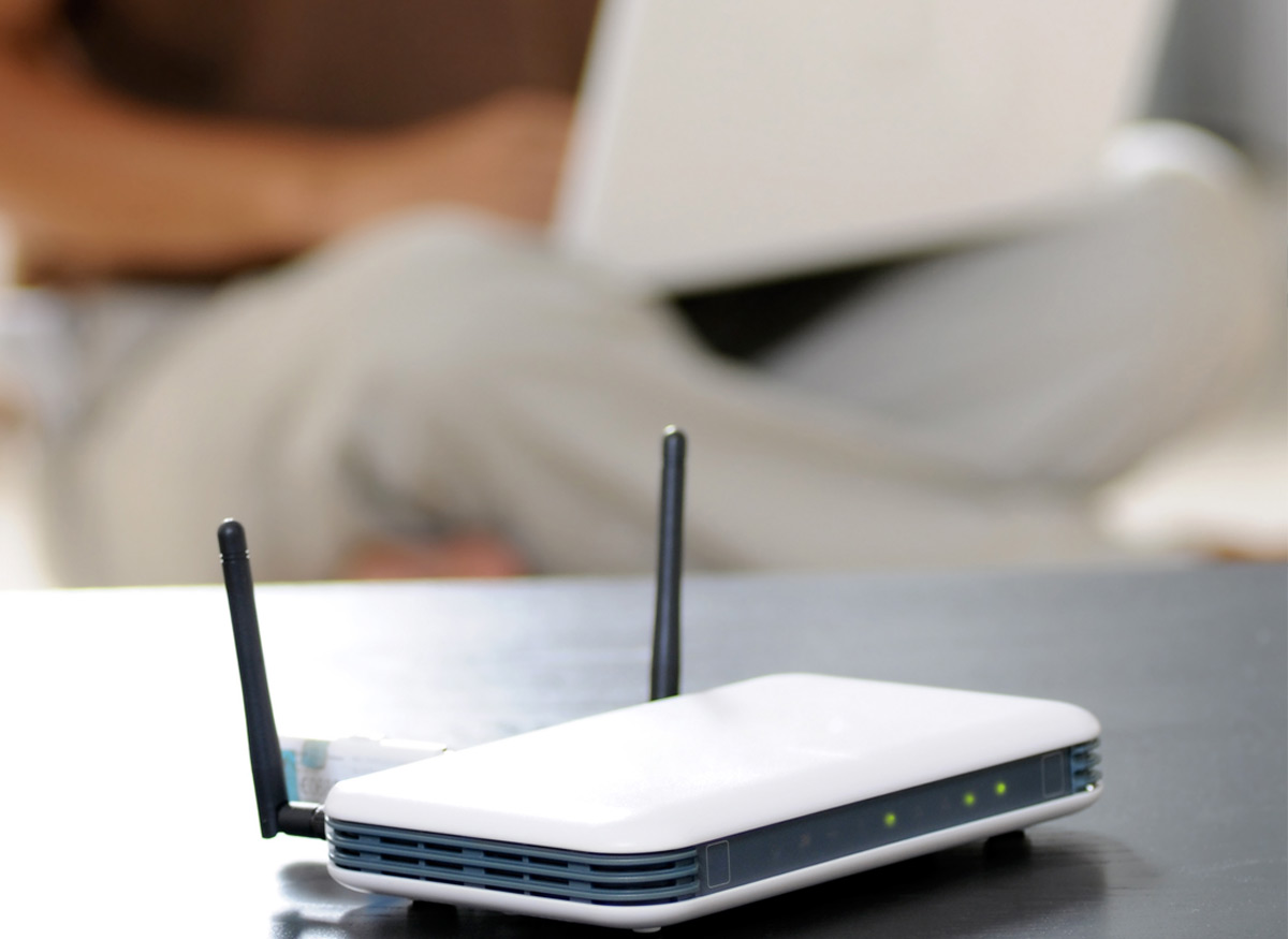 Photo of a wireless router.