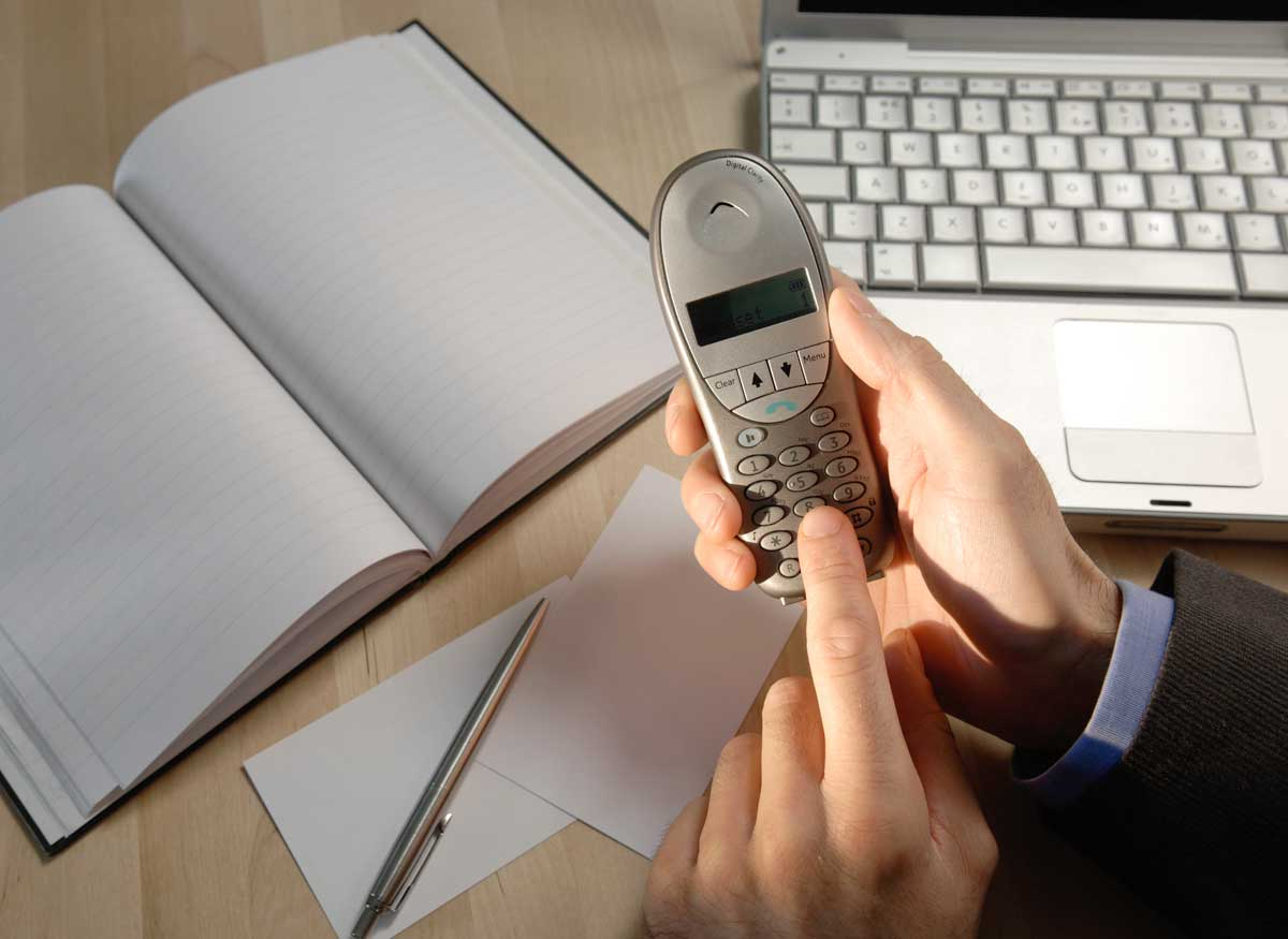 Photo of a cordless phone that has mailbox capabilities.