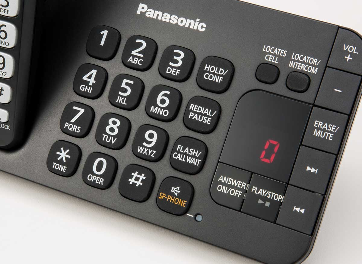 Photo of a cordless phone control panel that has speakerphone and auto talk.