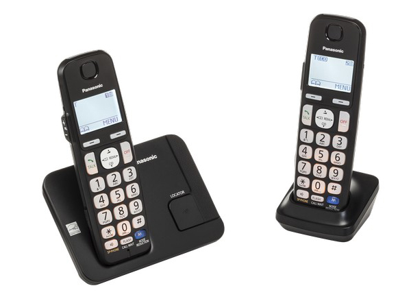 Photo of a black cordless phone that doesn't have any answerers.