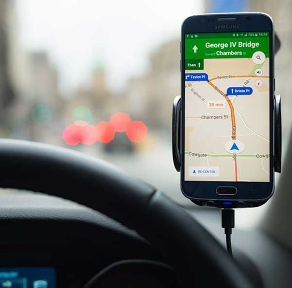Photo of a smartphone GPS app displaying directions.