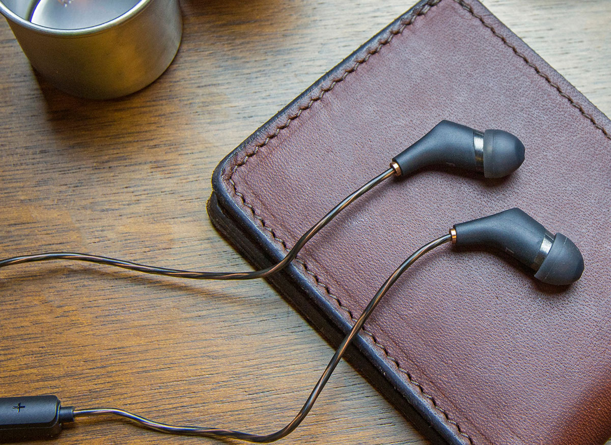 Photo of a pair of in-ear headphones.
