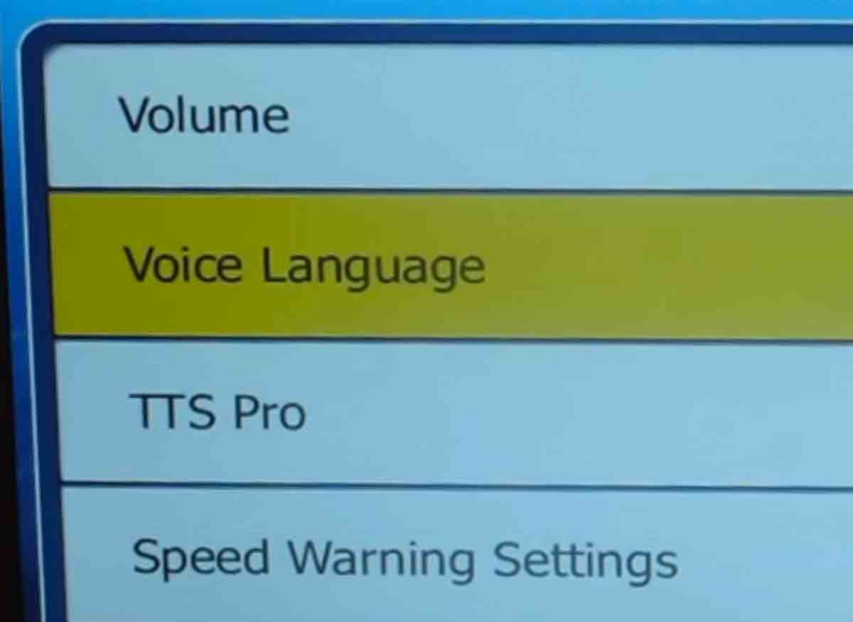 Photo of a GPS menu that includes voice language options.