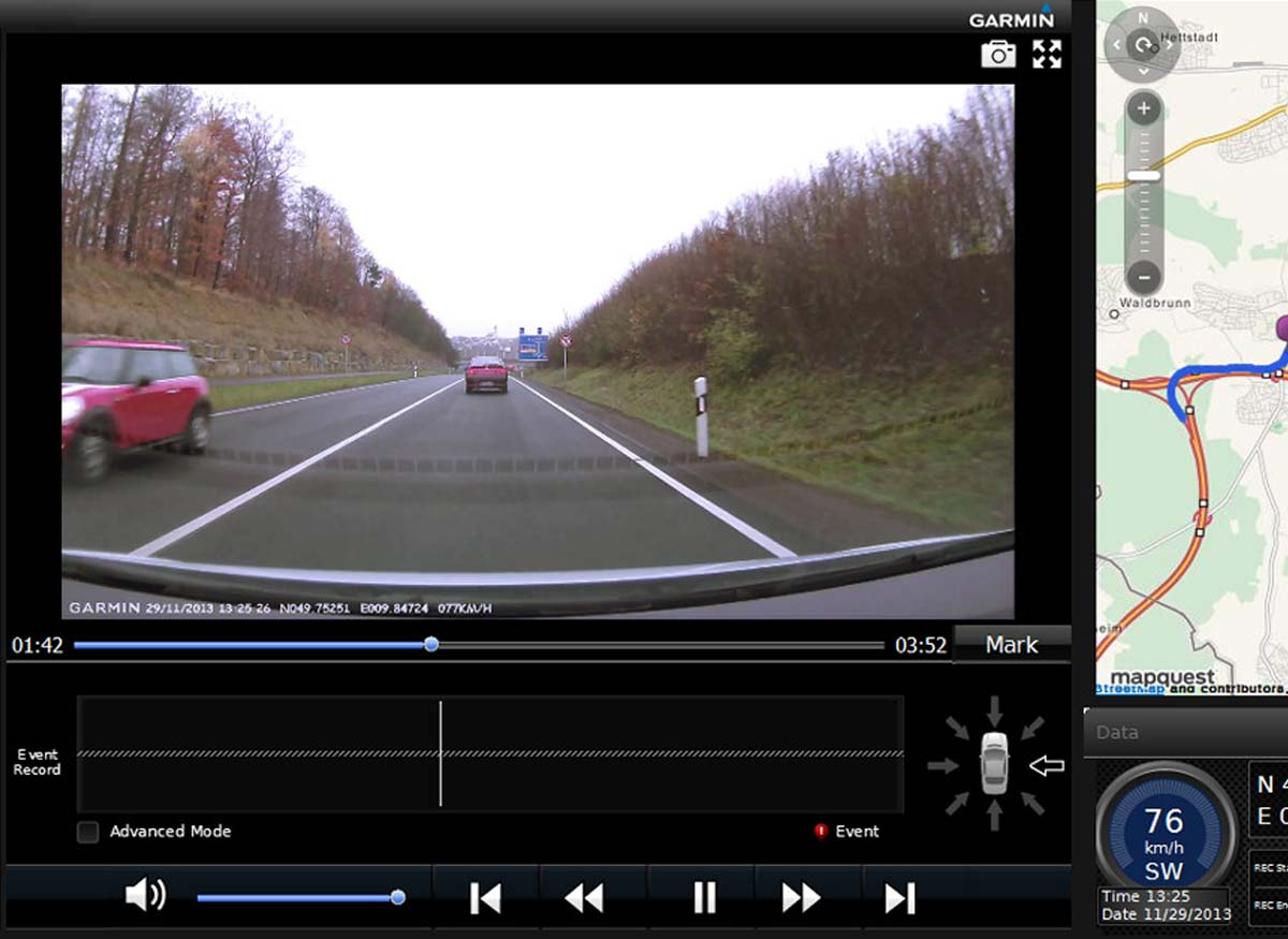 Photo of a front-camera diplsay on a person's car GPS unit.