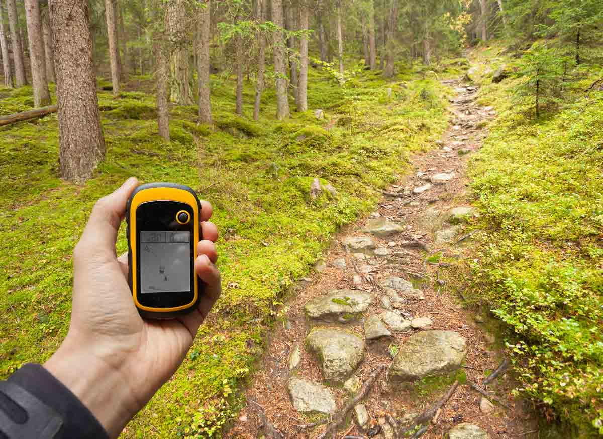 Photo of a portable GPS that a person is hiking with.