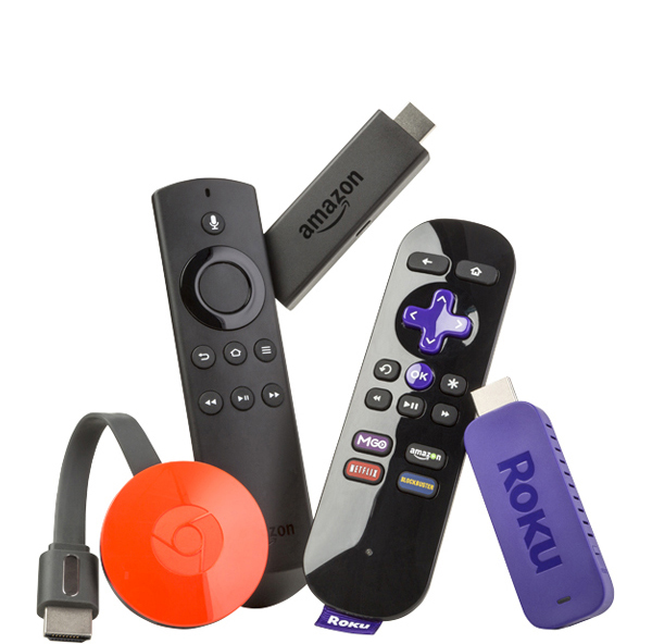 Picture of several stick-style streaming media players.