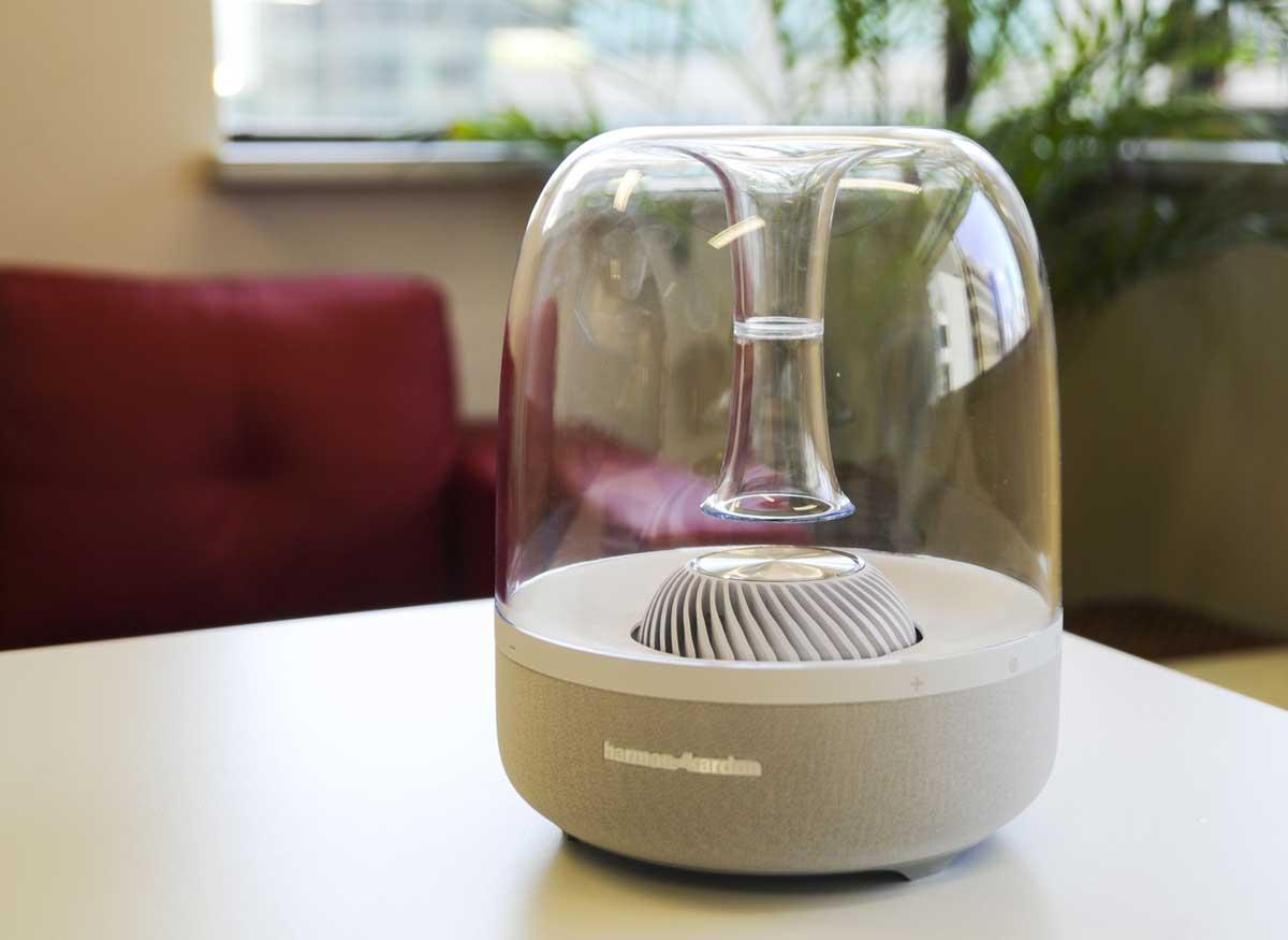 Photo of a Harman Kardon Aura wireless speaker.