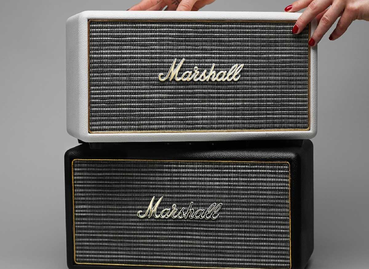 Photo of two Marshall wireless speakers stacked on top of each other.