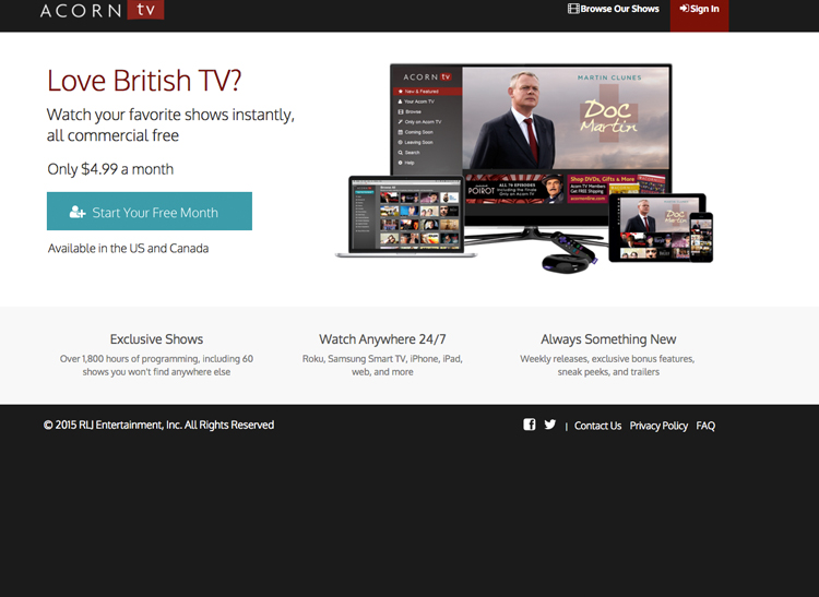 Acorn.tv is one of the popular streaming sites