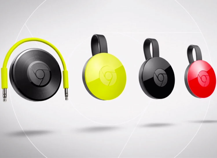 Photos of the Google Chromecast Audio, plus three new Chromecast media streamers in yellow, black, and red.