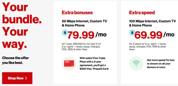 Screen grab of two of the Verizon FiOS TV packages that combine TV with Internet and phone.