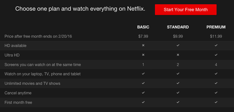 Chart that shows Netflix rates, including various pricing plans and services.