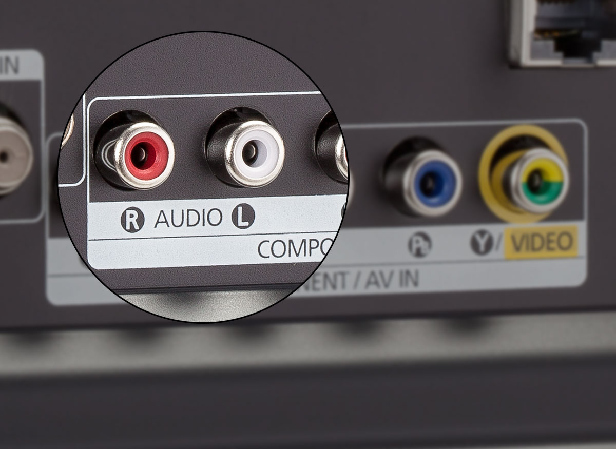 Photo of a TV's stereo RCA output jacks.