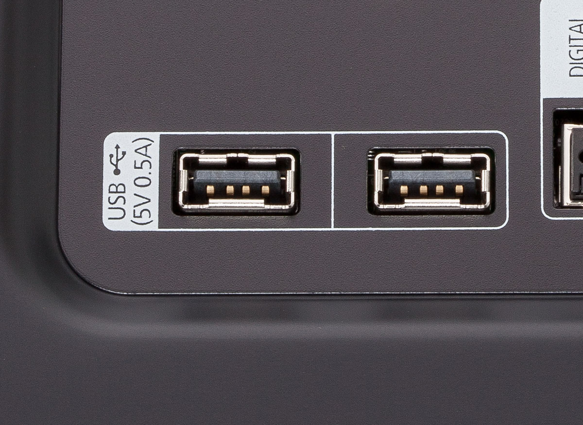 Photo of a TV's USB ports.