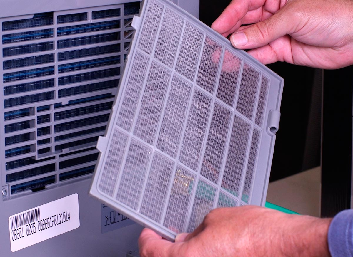 Photo of a person taking a washable air filter out of a dehumidifier.