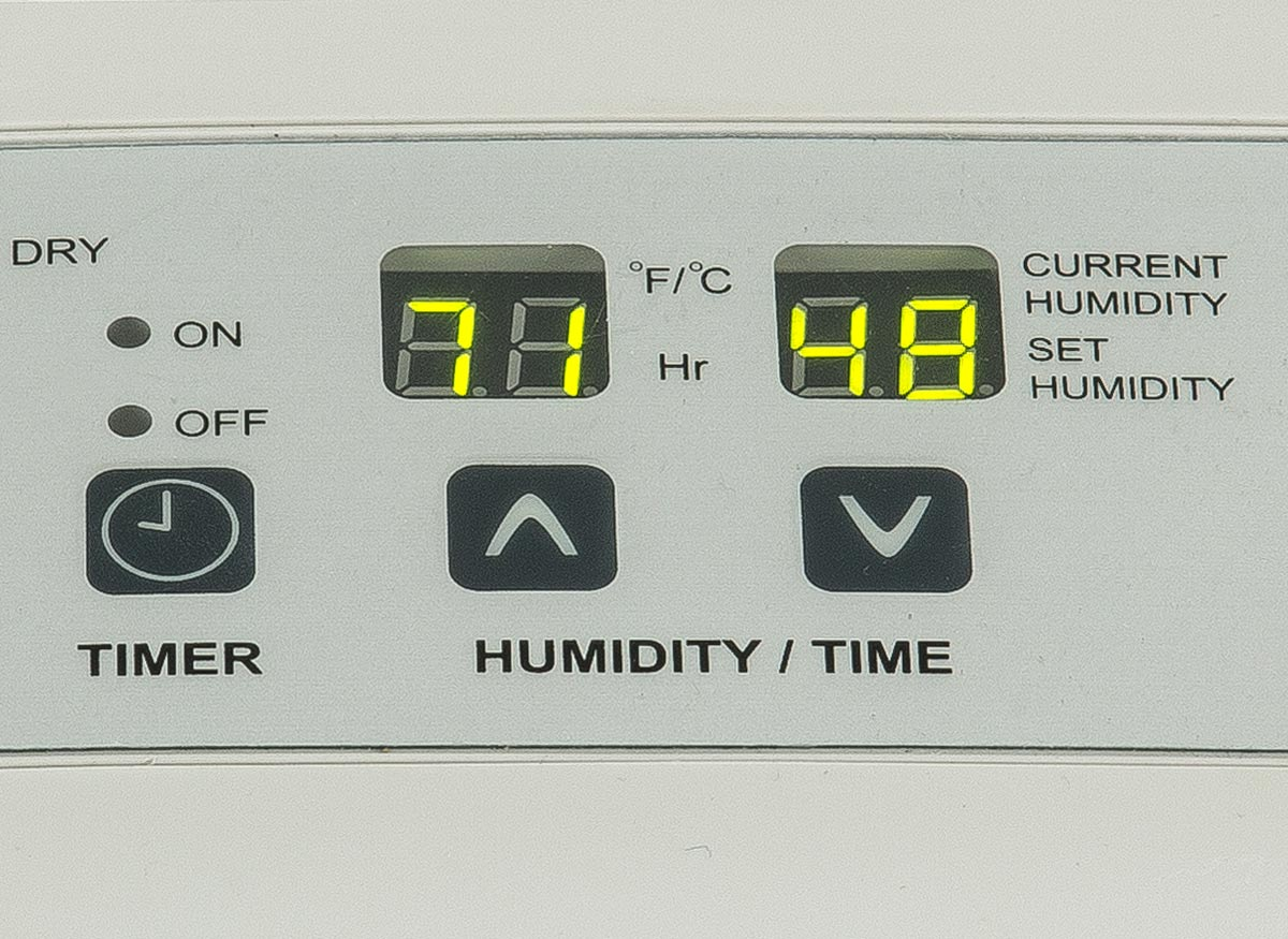 Photo of user-friendly controls on a dehumidifier.