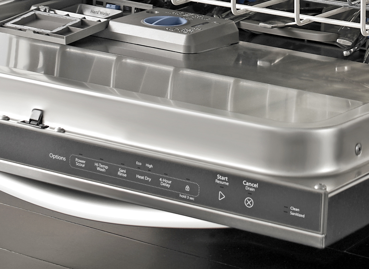 Photo of a dishwasher's hidden touchpad controls.