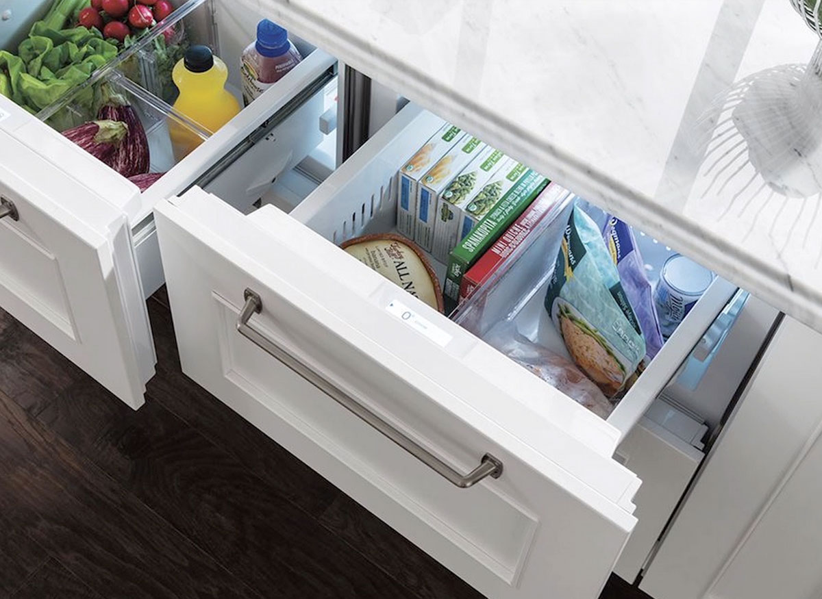 Photo of two freezer drawers.