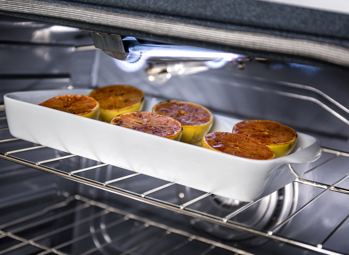 Picture taken inside an oven of a meal being cooked using the variable broil element.