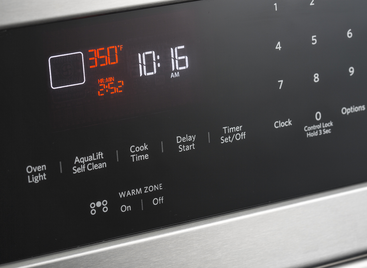 Photo of a time/delay start on a kitchen range.