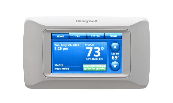Photo of a thermostat without remote access capabilities.