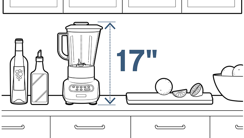 Measure your counter height before buying a new blender to make sure it fits.