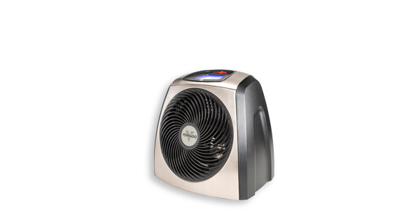 A small silver-gray space heater.