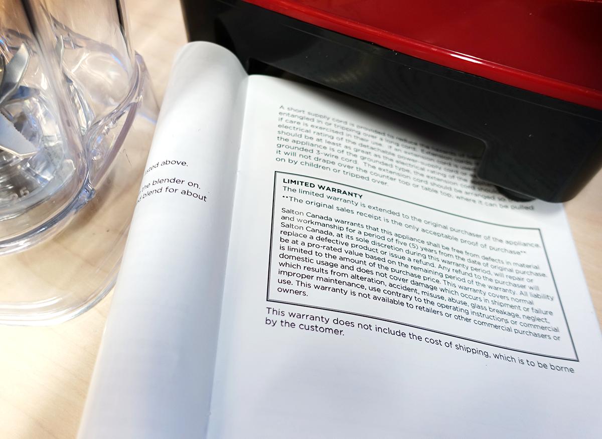 A printout of a blender warranty.