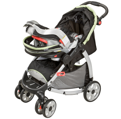 Photo of a travel-system stroller.