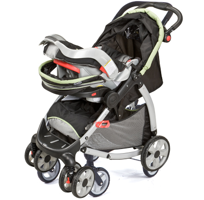 Photo of a car seat carrier stroller.