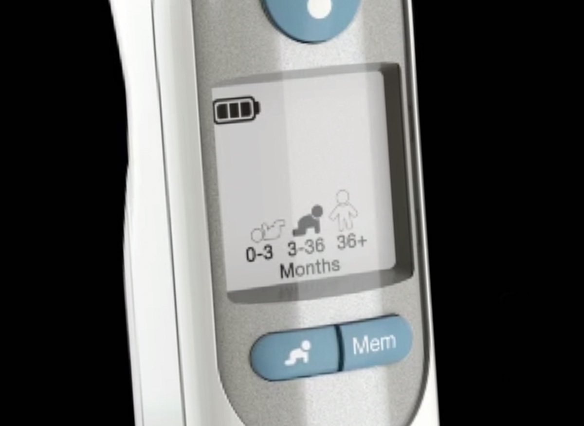 A thermometer with age and temperature technology.