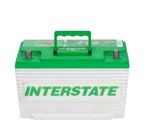 Photo of an absorbed glass mat (AGM) car battery.