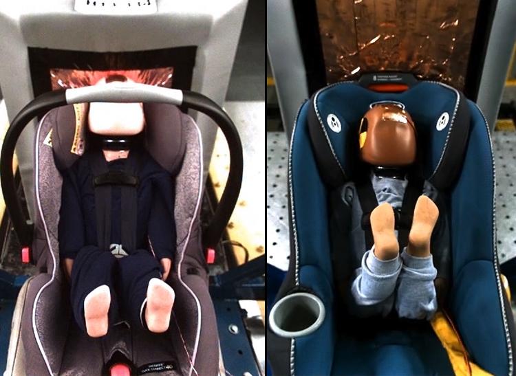 Convertible car seat testing, top view