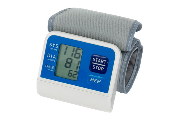 Photo of a blood pressure monitor that you wear on your wrist.