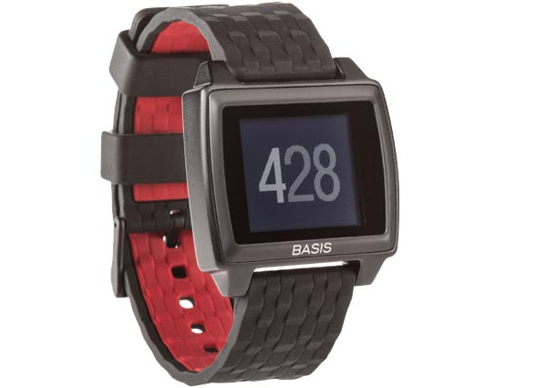A red and black fitness tracker.