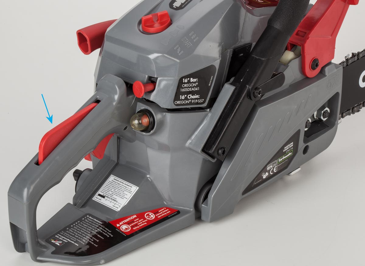Photo of a trigger lockout on a chain saw.