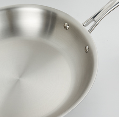Photo of a stainless steel pan.