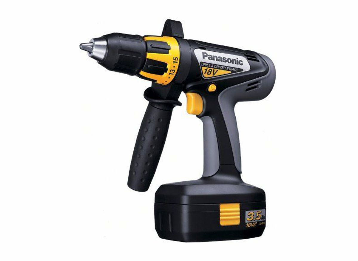 A cordless drill with an extra handle.