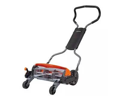 A manual-reel lawn mower.