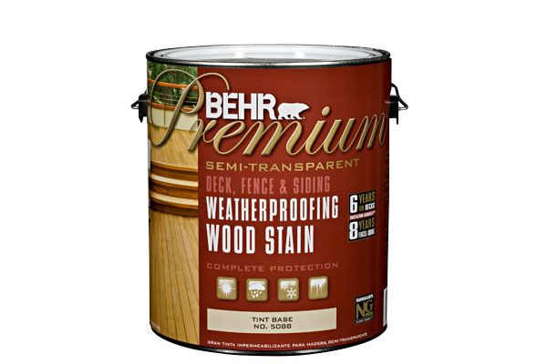 Photo of a can of Behr Premium semi-transparent wood stain.