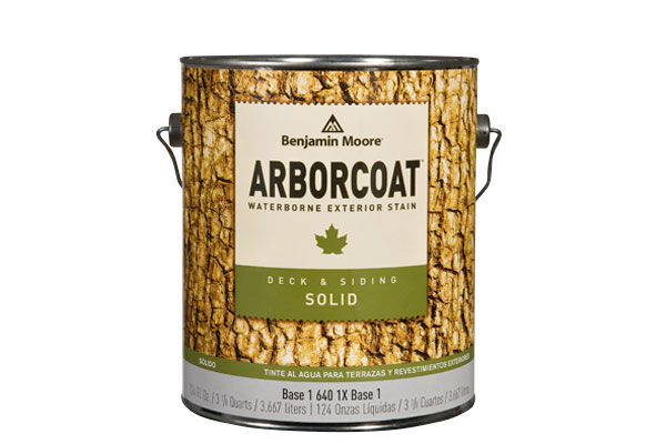 Photo of an Arborcoat can of solid wood stain.