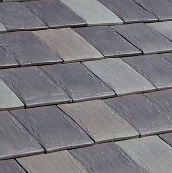 Photo of fake slate roofing shingles.