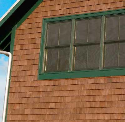 Photo of wood siding on a house.