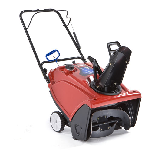 A red, single-stage gas snow blower.