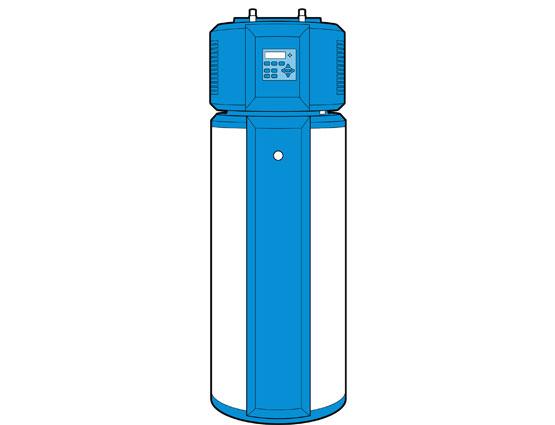 Illustration of a heat pump/hybrid water heater.