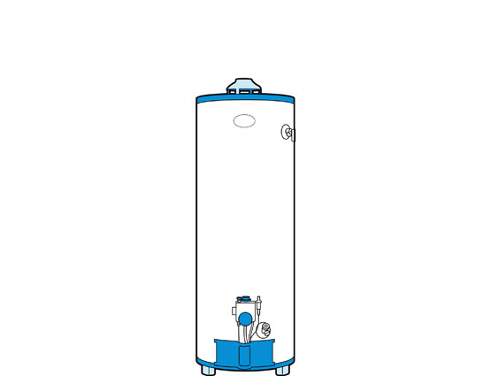 Illustration of a storage tank water heater.