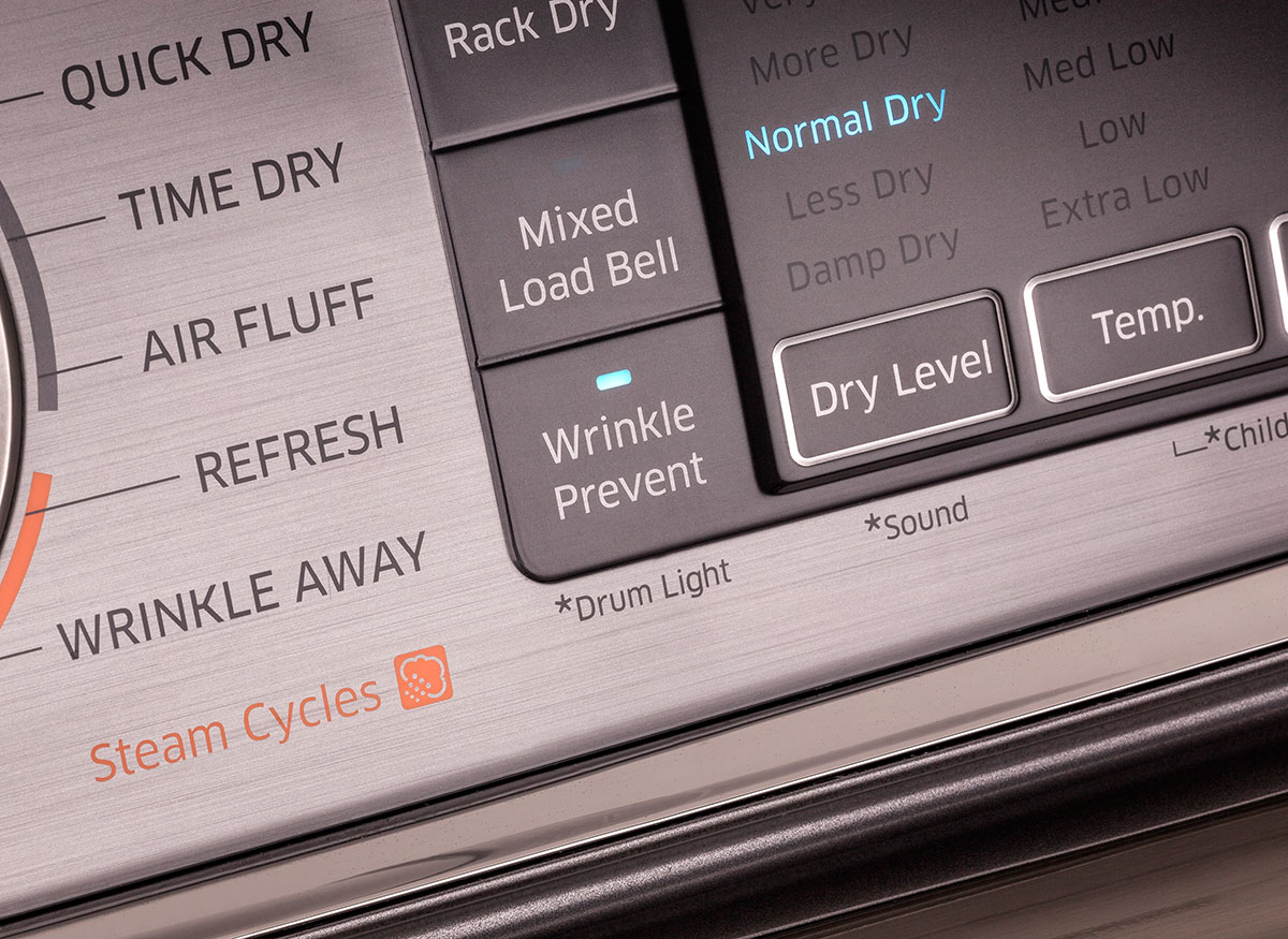 Close shot of an extended tumble setting on a clothes dryer control panel.
