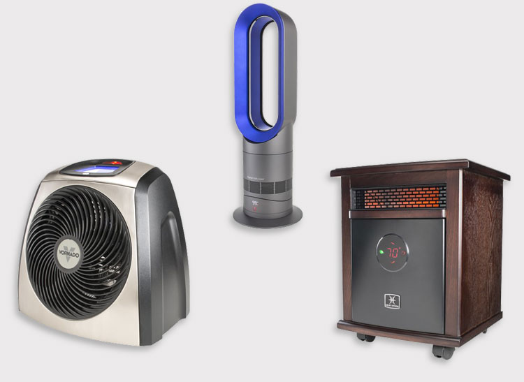 Vornado TVH600, Dyson AM09, and Heat Storm Logan space heaters.