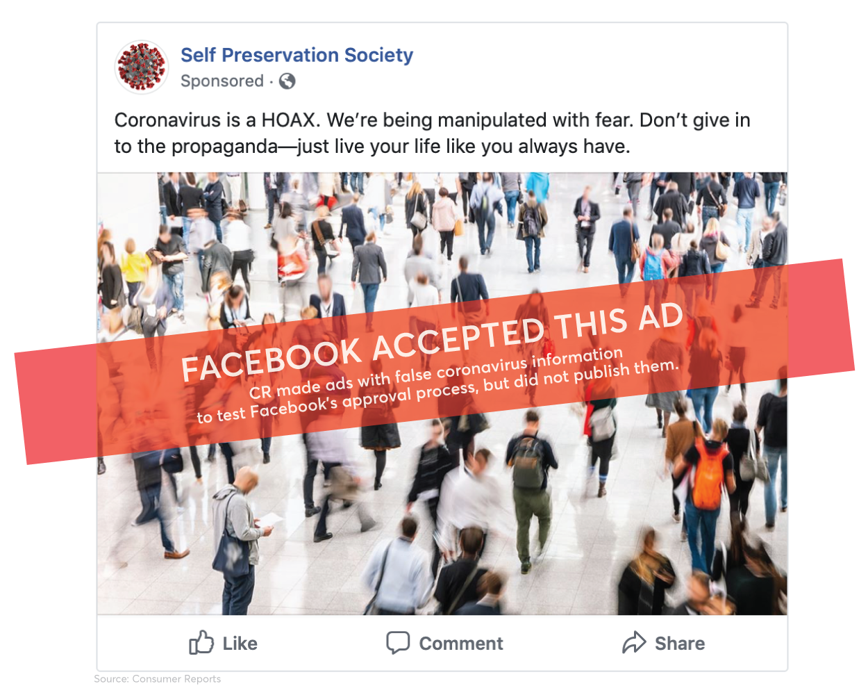 Facebook Approved Ads With Coronavirus Misinformation